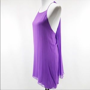 Alice + Olivia Purple Silk Drape Back Dress Size S